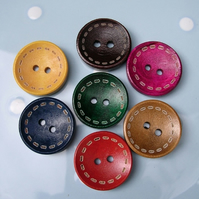 7 Stitch Pattern Round Wooden Buttons