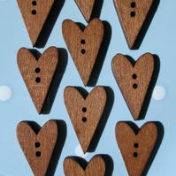10 Dark Wood Long Heart Shaped Buttons
