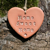 Home Sweet Home Heart Shaped Terracotta Hanging