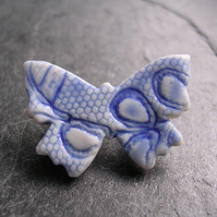 Blue and White Porcelain Butterfly Brooch