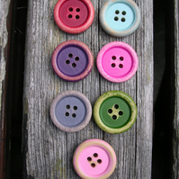 7 Colourful Wooden Buttons 15mm