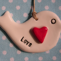 Cute White Ceramic Love Bird Hanging Sign