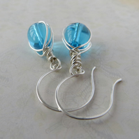 Silver and turquoise glass teardrop earrings, Raindrop earrings
