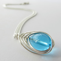 Sterling Silver and Turquoise Glass Necklace, Raindrop pendant