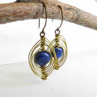 Lapis Lazuli and and Brass Earrings, Blue Gemstone Earrings, Wire Wrapped