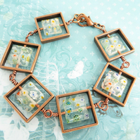 Copper Squares Bracelet, White Millefiori Bracelet, Colourful Flower Bracelet