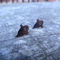 Sterling Silver Ghost Earrings, Halloween Jewellery, 925 Silver Studs