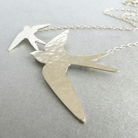 Sterling Silver Swallow Necklace, Textured Bird Necklace, Hallmarked, Gift Boxed
