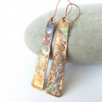 Long Copper Earrings, Flame Painted Earrings, Multicoloured, Oxidised Copper