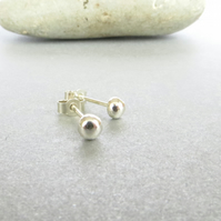 Tiny Sterling Silver Stud Earrings, Recycled Silver