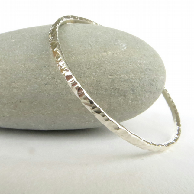 Silver Bangle, Sterling Silver Stacking Bangle, Textured Bracelet, Hallmarked