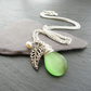 Leaf Necklace, Green Glass Necklace with Freshwater Pearl, Wire Wrapped Pendant