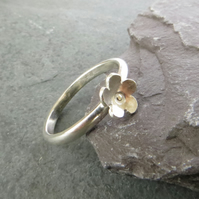 Silver Flower Ring, Stacking Ring, Sterling Silver, Tiny Flower Ring