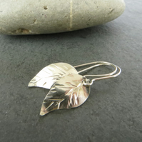 Silver Leaf Earrings, Gift for nature lover