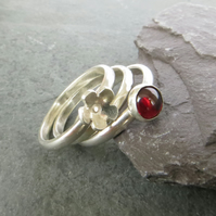 Garnet Stacking Ring Set, Red Gemstone and Flower, Sterling Silver, Size N