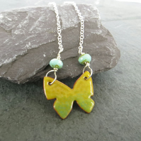 Butterfly Necklace, Yellow Enamelled Pendant, Sterling Silver Chain