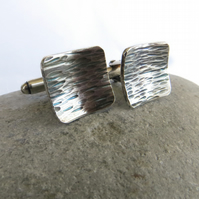 Sterling Silver Cufflinks with Tree Bark Pattern, Father's Day Gift