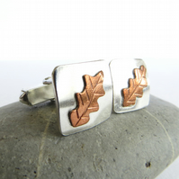 Silver and Copper Cufflinks, Oak Leaf Design, Square Cuff Links