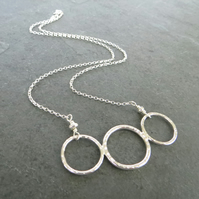 Sterling Silver Circles Necklace, Triple Ring Necklace, Geometric Necklace