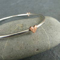 Sterling Silver Bangle with Textured Copper Hearts
