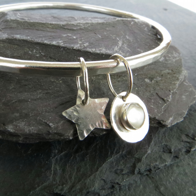 Sterling Silver Bangle with Moonstone, Moon and Stars Bangle, Lunar Bracelet