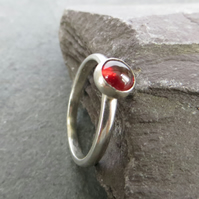 Garnet Ring, Silver Stacking Ring, January Birthstone, Red Gemstone Ring