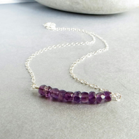 Amethyst and sterling silver necklace, February birthstone
