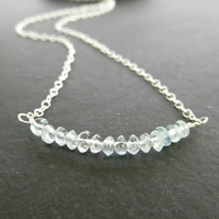 Aquamarine Bar Pendant, March Birthstone Necklace, Sterling Silver