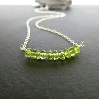 Peridot Bar Pendant, August Birthstone Necklace, Sterling Silver, Green Gemstone
