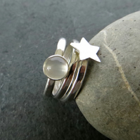 Moonstone Stacking Ring Set, Silver Star Ring, June Birthstone Ring
