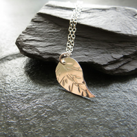 Sterling silver leaf necklace, Gift for plant lover