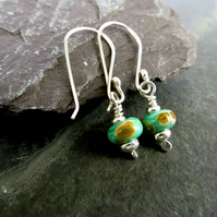 Green Lampwork Glass Earrings, Sterling Silver Ear Wires, Recycled Silver