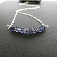 Blue Iolite and Sterling Silver Bar Pendant, Gemstone Necklace