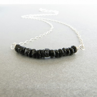 Black tourmaline and sterling silver pendant, October birthstone necklace