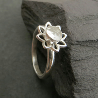 White Topaz and Sterling Silver Ring, Alternative April Birthstone Gemstone