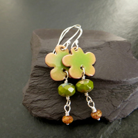 Pale Green and Brown Enamel Flower Earrings
