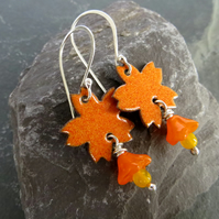 Bright Orange Enamel Flower Earrings