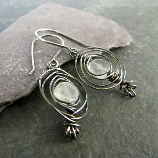 Moonstone earrings, Oxidised silver with natural stones