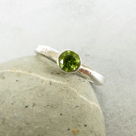 Peridot and silver solitaire ring, Gift for August birthday