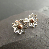 Silver and Copper Flower Stud Earrings, 7th anniversary gift
