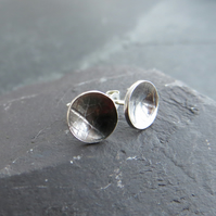 Sterling Silver Stud Earrings with Leaf Texture Print