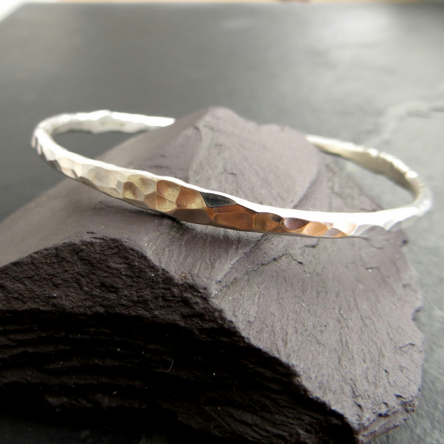 Sterling Silver Bangle with Dimple Texture, Hallmarked