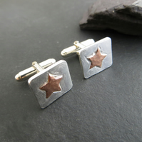 Silver and Copper Star Cufflinks, Hallmarked, Copper Anniversary Gift