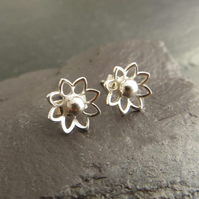 Sterling Silver Flower Earrings, Small Stud Earrings