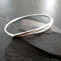 Sterling Silver Bangle, Crossover Bangle, Hallmarked