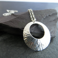 Sterling Silver Disc Pendant, Circle Necklace