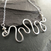 Sterling Silver Wave Necklace, Small Wire Wave Necklace