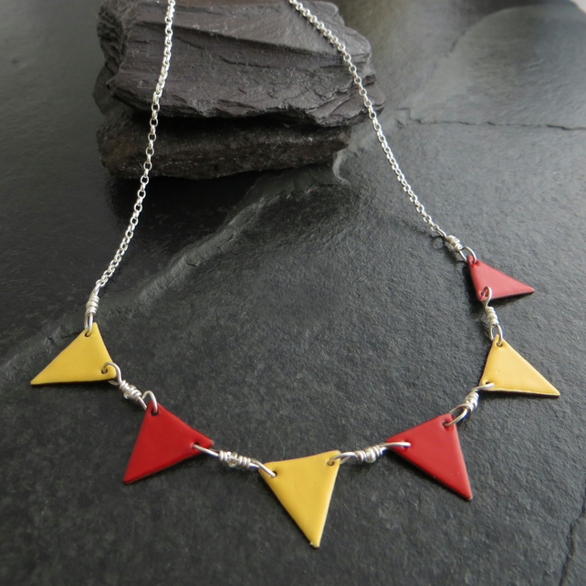 Red and Yellow Bunting Flag Necklace, Sterling Silver and Copper, Geometric