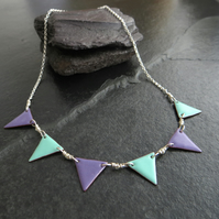 Lilac and Aqua Enamel Bunting Flag Necklace, Sterling Silver and Copper