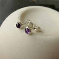 Sterling Silver and Amethyst Stud Earrings, Small Earrings